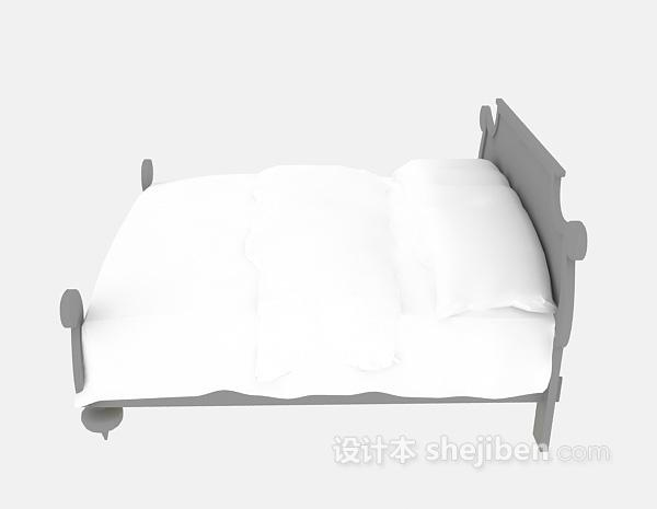 木质单人床3d模型下载