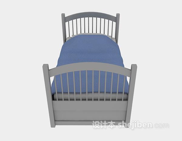 木质儿童床3d模型下载