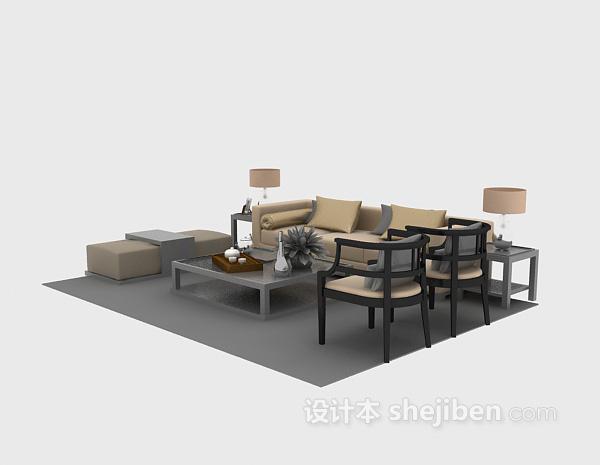 中式风格沙发3d下载