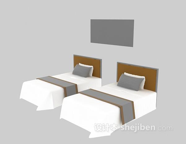 宾馆内单人床3d模型下载