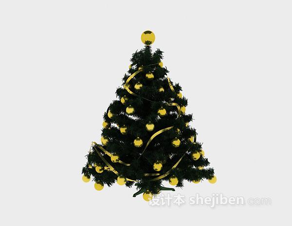 黄色圣诞树3d模型下载