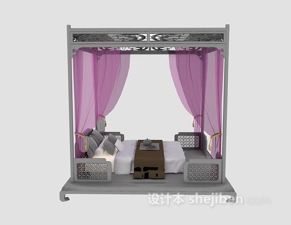 中式豪华床具3d模型下载