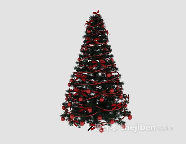 红色装扮圣诞树3d模型下载