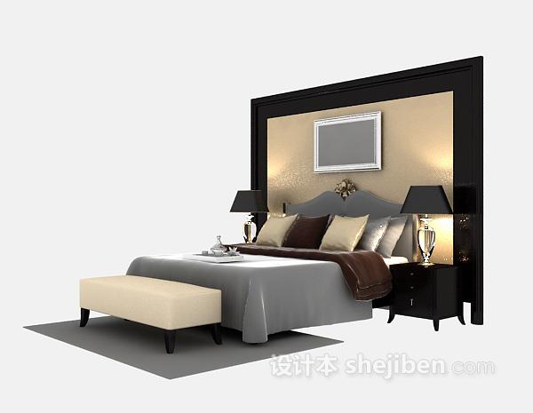 现代豪华双人床3d模型下载