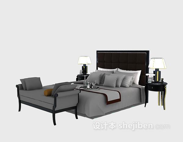 酒店宾馆床具3d模型下载