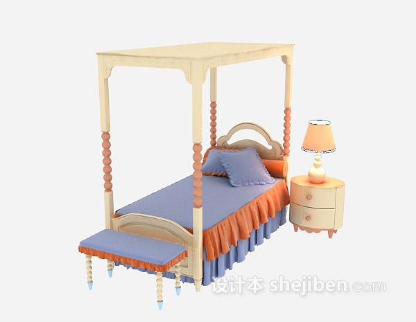 欧式儿童床3d模型下载