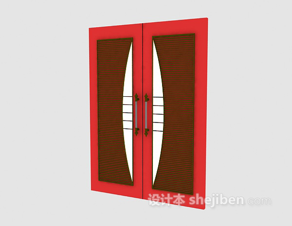 红色推拉门3d模型下载