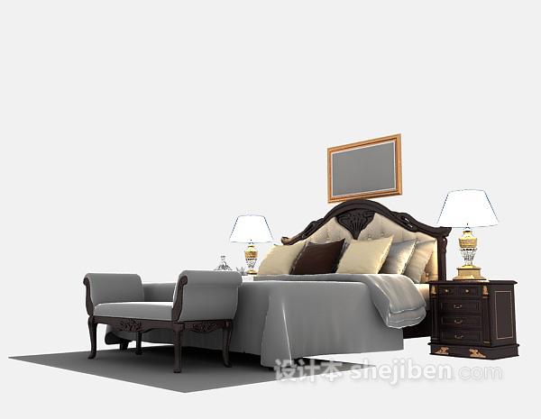 欧式风格实木床3d模型下载