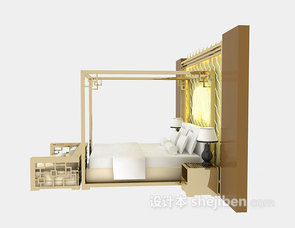 中式风床具3d模型下载