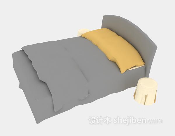 现代单人床3d模型下载