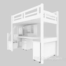 学生宿舍床3d模型下载