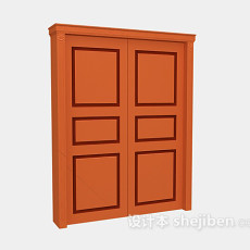 木质大门3d模型下载