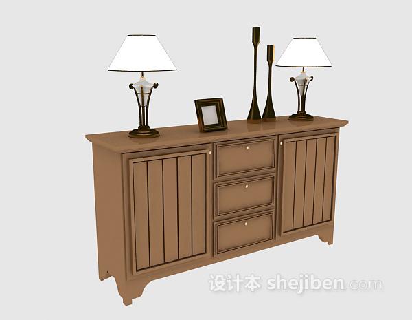欧式木质玄关柜3d模型下载