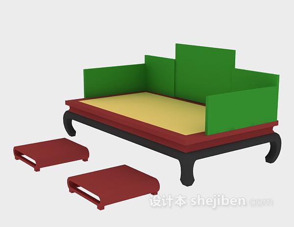中式沙发模型3d下载