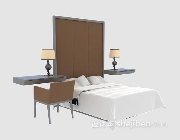 酒店双人床3d模型下载