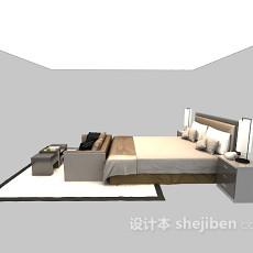 简易现代床具3d模型下载