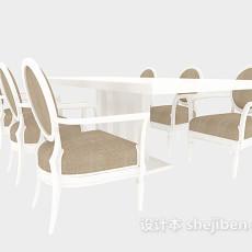 家居实木餐桌餐椅3d模型下载