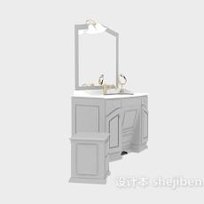 欧式洗手盆、镜子组合3d模型下载