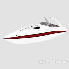 白色游艇3d模型下载