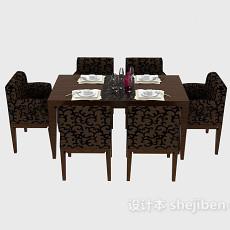 中式家居餐桌餐椅3d模型下载