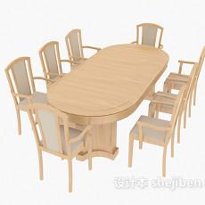 地中海实木餐桌餐椅3d模型下载