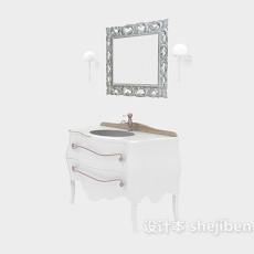 白色欧式浴柜3d模型下载