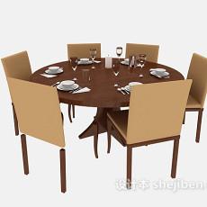 棕色实木餐桌餐椅3d模型下载