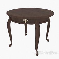 欧式 实木圆桌3d模型下载
