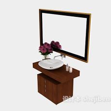 美式家居实木浴柜3d模型下载