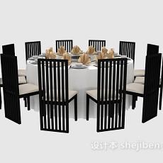 中式黑色餐桌餐椅3d模型下载