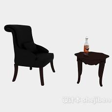 棕色实木家居椅3d模型下载