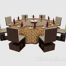 中式古典餐桌餐椅3d模型下载