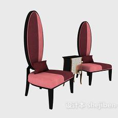 简约高背休闲椅3d模型下载