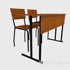 学校书桌组合3d模型下载