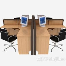 四人工作桌椅3d模型下载