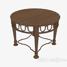 实木小 圆桌3d模型下载