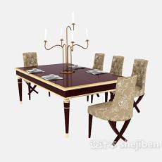 美式实木餐桌餐椅3d模型下载