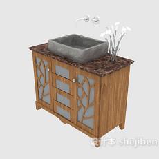 美式家庭浴柜3d模型下载
