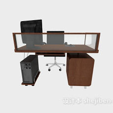 单人办公桌椅3d模型下载