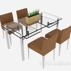 简约时尚餐桌餐椅3d模型下载