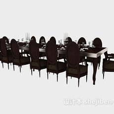 欧式简约餐桌餐椅3d模型下载