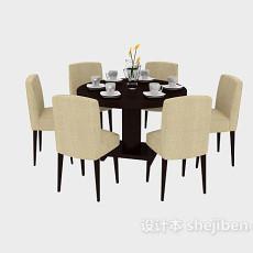 餐厅实木桌椅餐椅3d模型下载