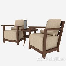 中式棕色单人沙发3d模型下载