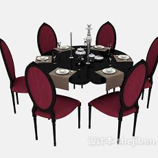 美式实木餐桌和餐椅3d模型下载