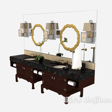 中式浴柜3d模型下载