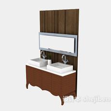 浴室实木浴柜3d模型下载