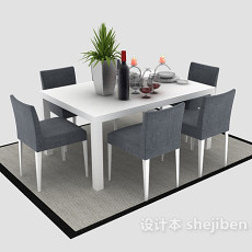 简约时尚木质餐桌3d模型下载