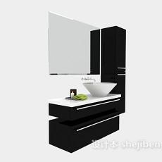 现代黑色简约浴柜3d模型下载