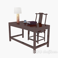 中式红木书桌3d模型下载