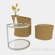 现代藤编沙发、玻璃边桌3d模型下载